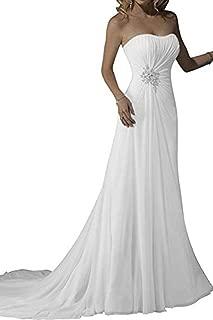 Bride Long Chiffon Simple Wedding Dress Bridal Gown Strapless