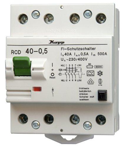 Kopp 754045089 Fehlerstromschutzschalter, 4-polig nach DIN VDE 0664