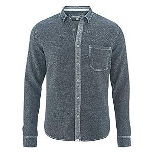 HempAge Herren Hemd Bio-Baumwolle/Hanf Indigo S