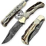 Stag Horn 6.5'' 100% Handmade Damascus Steel Folding Pocket Knife 100% Prime Quality