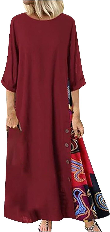 Summer Dress For Women 3/4 Sleeve Beach Dress O Neck Sundress Vintage Floral Patchwork Prom Dress Casual Maxi Long Skirt