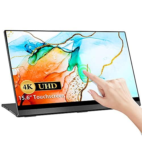 4K Touchscreen Portable Monitor, UPERFECT 15,6 Zoll Tragbarer USB C Gaming Monitor 3840x2160 UHD Mobile Display mit Schwerkraftsensor Auto-Rotation Rahmenlos Bildschirm