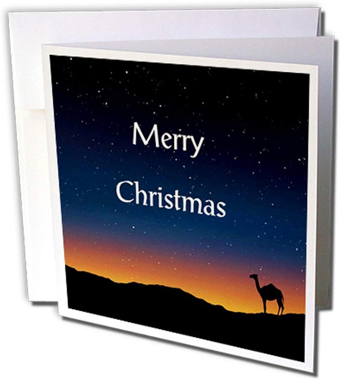 3dRosa gc_234678_2 Grußkarten Bild von traditionellem Merry Christmas Camel in Desert  (15 x 15 cm), 12 Stück B0764LD96V | Gute Qualität