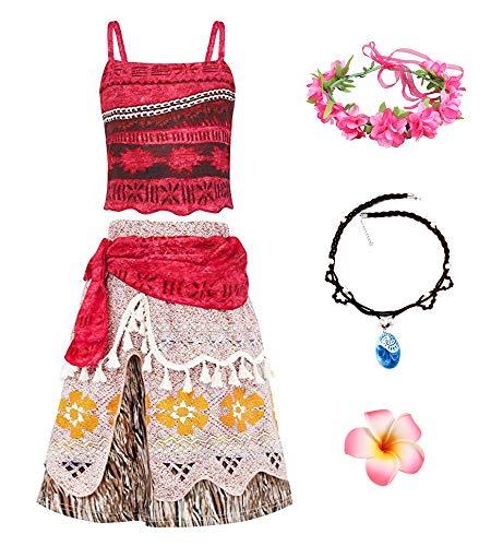 O.AMBW Disfraz de Moana Rojo Cosplay Princesa Vaiana Vestido Hawaiana Conjunto de 2 Piezas Top + Falda Disfraz con Accesorios Diadema Collar Mar y Tierra Traba Flor Regalo de cumpleaos para Nias