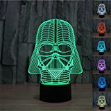 SmartEra 3D Star Wars Darth Vader Model 7 Color Change Fantastic USB Touch Button LED Desk Table Light Lamp