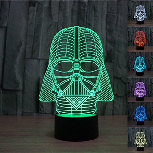 SmartEra Ilusión óptica 3D de Star Wars Darth Vader 7 tipos de colores Cambiar fantástico Botón táctil USB Escritorio LED de luz / lámpara de tabla