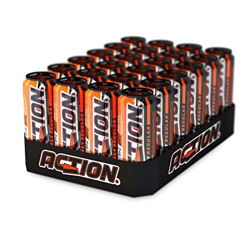 ACTION Energy Regular EINWEG, 24 x 500 ml, inkl. Pfand, Koffein (32 mg / 100 ml), Taurin, klassischer Energy Drink mit Tutti-Frutti Geschmack, große Dose