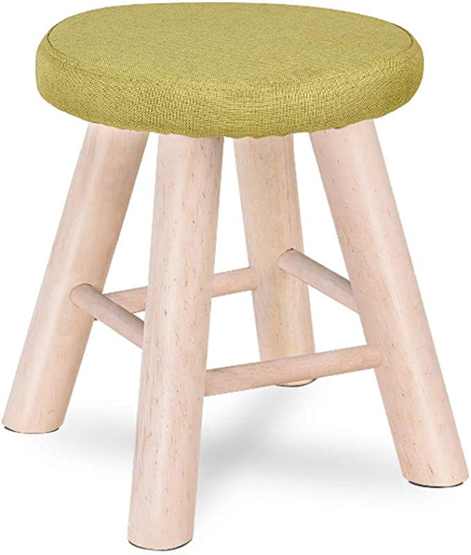 Ottomans Solid Wood Stool Fashion Creative Bench Restaurant Stool Fabric Round Stool Household High Elastic Sponge 200 Kg Load Bearing DELICATEWNN Color Green