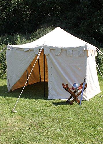 Battle Merchant Palazzo24Moyen-âge Tente Ritter Herold, 3x 3m Tente Roulement LARP Ritter médiéval Viking Couleurs Assorties M Naturel
