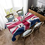 Aomike Linen Rectangle Tablecloth Independence Day British Flag Table Cloth Washable Dust-Proof Table Cover for Dining/Buffet/Parties/Weddings/Banquet, (60' x 140')