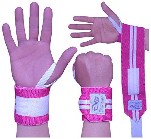 EVO Femmes Rose àÉlastique Gym Courroies Haltérophilie Support de poignée Bandage sport Gants