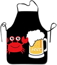 Okhagf Beer Crabs Cartoon Kitchen Cooking Apron Unisex Funny Chef Aprons