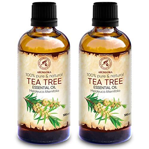 Olio essenziale di Tea Tree 200 ml - 2 per 100 ml - 100% puro e naturale - Melaleuca Alternifolia - Australia