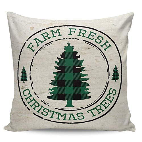 Ye Hua Canvas Throw Pillow Covers Square, Green Farm Fresh Christmas Trees Zippered Pillow Shams Cases for Cushion/Office/Sofa/Bedroom Home Decor, Rustic Wood