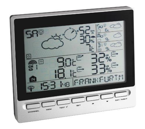 TFA Dostmann Meteotime Info Wetter-Info-Center, Profi-Wetterprognose, Anzeige von kritischen Wettersituationen, Regenwahrscheinlichkeit, Außentemperatur, Luftfeuchtigkeit