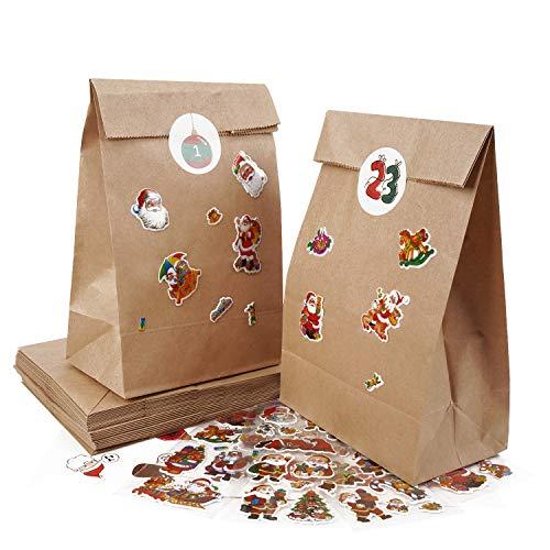 LOVEXIU Calendario Dell'avvento Sacchetti con Adesivi Numerici Sacchetti Regalo di Carta di Natale Scatole Regalo per Bambini e Decorazioni
