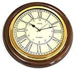 PIRU - Reloj de Pared Grande para salón y Oficina, 40,64 cm Aspecto Antiguo, latón y Madera, numeración Romana