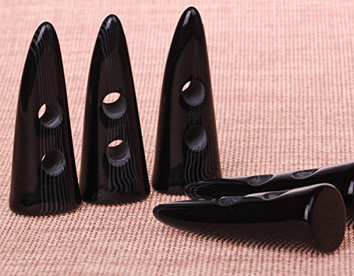 Cotowin [Pack of 6pcs] Black Resin Horn Toggle Coat Buttons Sewing Craft DIY Accessory, 1 3/4 x 3/4 Inch (47 mm x 18 mm)