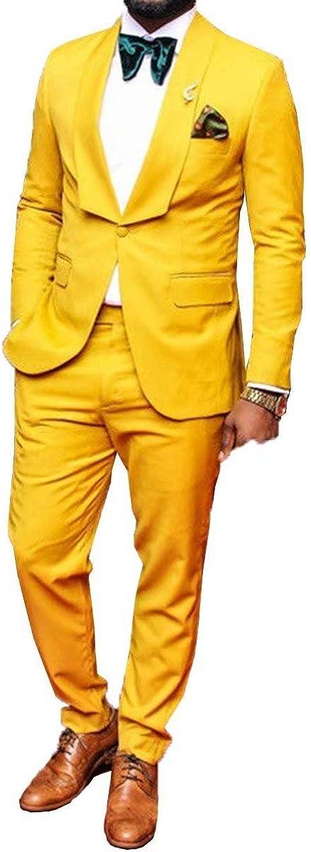 RONGKIM Men's Fashion One Button 2 Pieces Suit Blazer Dress Business Wedding Party Jacket & Pants