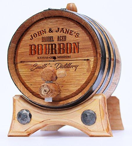 Personalized Whiskey Oak Barrel – 1 Liter Black Steel Hoops