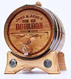 Personalized Whiskey Oak Barrel – 2 Liter Black Steel Hoops - Engraved Bourbon Template