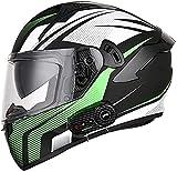Motorbike Helmet Cascos de moto integrales Casco de moto con Bluetooth abatible Modular DOT / ECE Homologado Hombres Mujeres Casco de protección contra la niebla Visera solar doble para niños, jóve