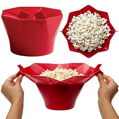 Uchic 1 PC Coque en silicone micro-ondes Magic Popcorn Maker Creative DIY Popcorn à nourriture cuisson saine (Rouge)