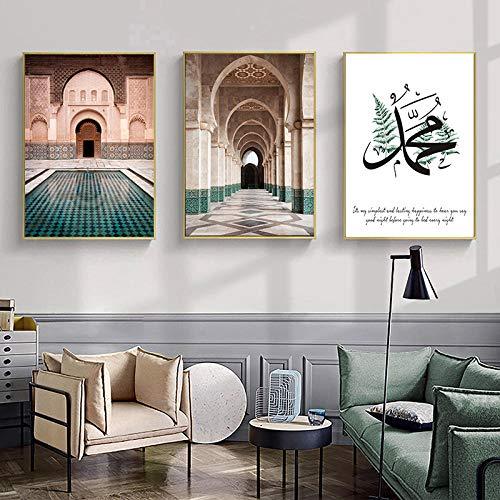 jjshily Marokkanische Bogen Leinwand Gemälde Islamisches Zitat Wandkunst Poster Hassan Moschee Sabr Bismillah Druck Allah Muslim Dekor Bild