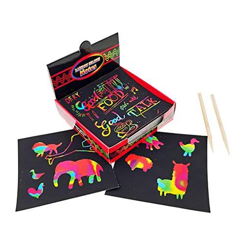Kaist Educatif Interactif Scratch Notes Set Scratch Doodle Art avec 100 Papier Arc-en-Ciel Holographique, 2 Stylets 3-10 Ans