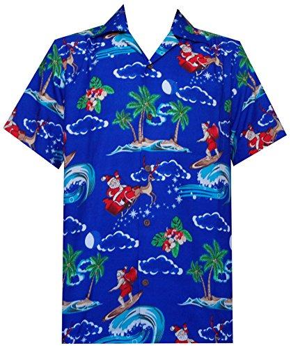 Hawaiian Shirt 41 Mens Christmas Santa Claus Party Aloha Holiday Blue L