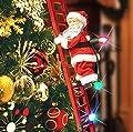 Electric Climbing Santa, Mr. Christmas Animated Musical Climbing Santa with LED Light, Santa Claus Hanging Xmas Ornament Toys Indoor Outdoor Holiday Home Decor