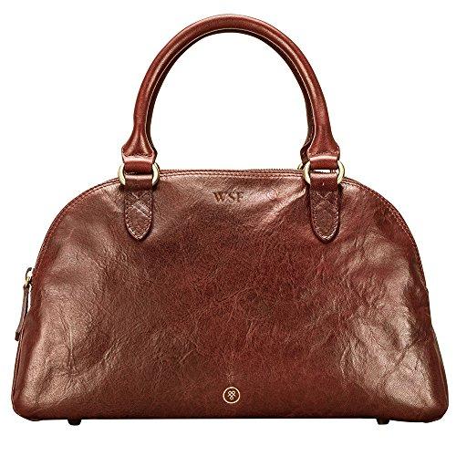Maxwell Scott Hochwertige Damen Leder Bowling Bag Handtasche LilianaS in Cognac Braun