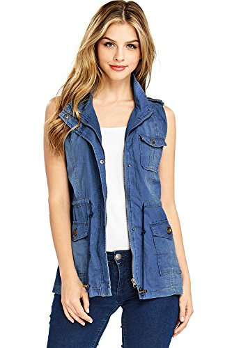 Black Label by Cest Toi Women's Safari Cargo Vest (3X, Med Denim)