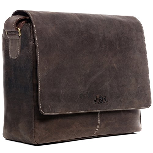 SID & VAIN Laptop Messenger Bag echt leer Spencer XL grote tas 15