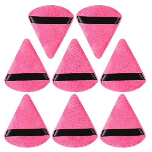 Lurrose 8 Pièces Coton Houppette Triangle Coin Forme Éponge pour Lâche Poudre Anti-Cernes Fondation Outil Cosmétique Rose