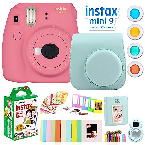For Sale! Fujifilm Instax Mini 9 Instant Camera, Flamingo Pink Bundle with Instax Mini Twin Pack Pic...
