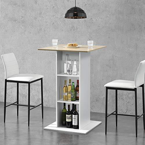 [en.casa] Bartisch Quadratisch 110x70x70cm Bistrotisch mit 3 Regalfächern Stehtisch Bartheke Tresentisch Weiß/Eiche-Optik