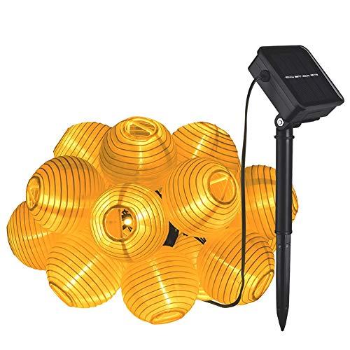 LightJH Lichtketting, op zonne-energie, LED, kerstdecoratie, lantaarn, solar-lichtketting, lichtketting, 8 modi, buitenverlichting, decoratief, voor tuin, Kerstmis (warmwit)
