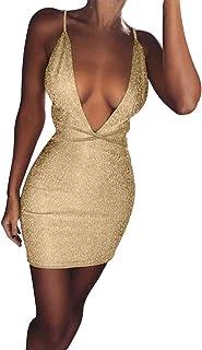 ROLYPOBI Vestido Sensual con Lentejuelas de Color sólido y Cuello en V para Mujer