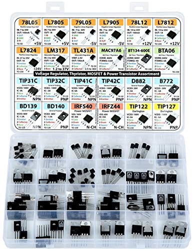 Power Transistor & Voltage Regulator, Mosfet, Thyristor Assortment Kit, 82 pcs, 24 Types, 78L05 L7805 L7905 LM317 TL431 MAC97A6 BTA06 TIP3c TIP41c TIP42c D882 BC140 IRF540 IRFZ44 TIP122 Others