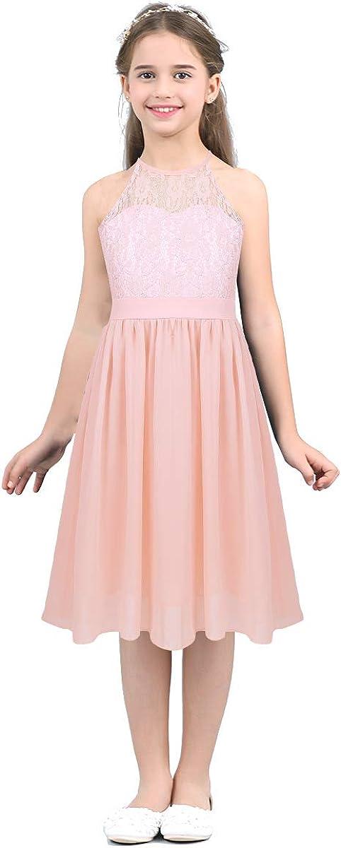 inlzdz Kids Girls Halter Neck Floral Lace Flower Girls Dress Bridesmaid Wedding Pageant Formal Ball Gown