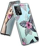 Funda para Samsung Galaxy A72, funda de silicona, transparente, diseño de flores, funda protectora delgada y suave, TPU, funda flexible resistente a los arañazos para Samsung A72 5G/4G, para niñas