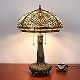 16インチヴィンテージ豪華なバロック様式のティファニースタイルのステンドグラスのテーブルランプのベッドサイドランプ