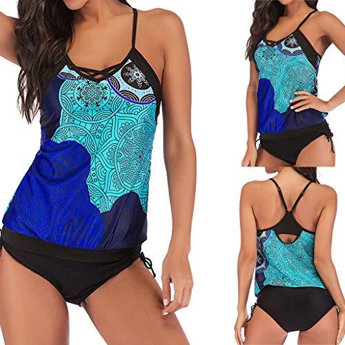 TOPUNDER Women Plus Size Swimwear Print Bandage Bikini Swimsuit Two Piece Beachwear Blue