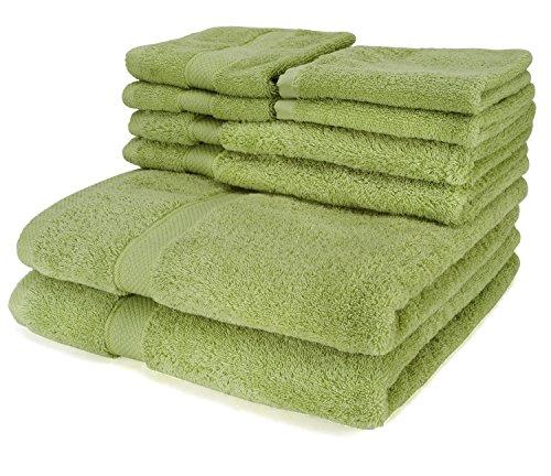 Set di 6 asciugamani di lusso verde - 2 Asciugamani da bagno, 2 Asciugamani mani, 2 Salviette, più 2 Salviette in omaggio - 100% naturali in cotone egiziano 650 GSM - Super morbidi e molto assorbenti