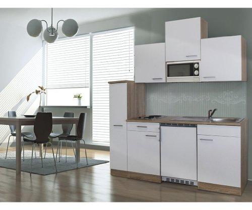respekta Single Küche Küchenzeile Küchenblock 180 cm Eiche sägerau Weiss APL Eiche sägerau Nachbildung Mikrowelle Ceran KB180ESWMIC