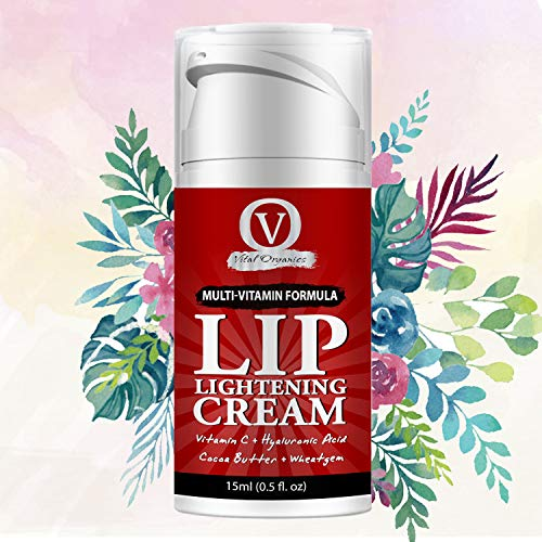 Vital Organics Lip Lightening Cream For Dark Lips To Lighten For Men & Women With Vitamin C, Hyaluronic and Licorice 15g