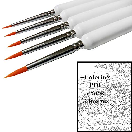 Fine Tip Detail Paint Brush Set, Best for Detailing with Acrylic, Watercolor, Oil, Miniature and Rock Painting, Nail Art, Nylon Brushes, Ergonomic Wooden Handles for Ultimate Precision + Coloring PDF