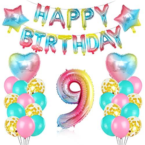 O-Kinee Cumpleaños Globos 9, Decoración de cumpleaños 9 en Rosa, 9er Cumpleaños Globos, Feliz cumpleaños Decoración Globos 9 Años, Globos Numeros para Cumpleaños Fiesta Decoración
