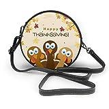 Tarjeta de felicitación con diseño de pavo de Acción de Gracias para mujer, piel sintética, con cremallera, redondo, bolsa de hombro, bolso para trabajo, viajes, citas personalizadas